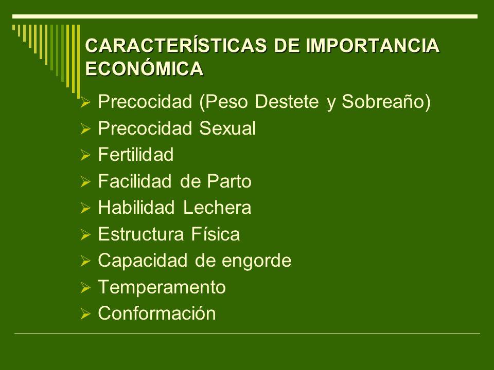 CARACTERÍSTICAS DE IMPORTANCIA ECONÓMICA