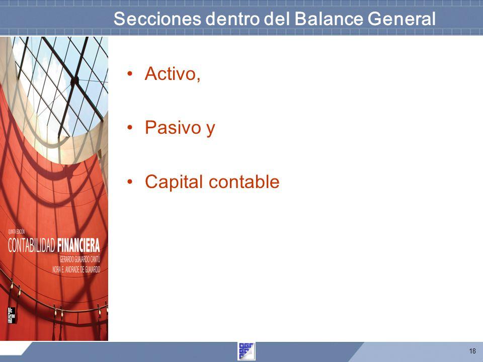 Secciones dentro del Balance General