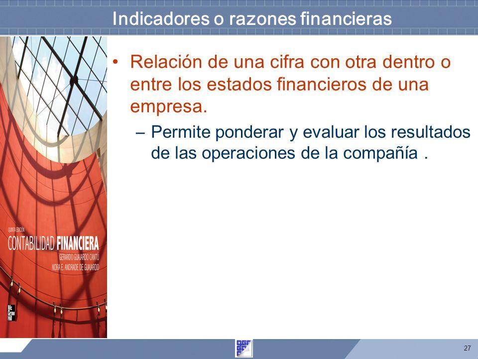 Indicadores o razones financieras