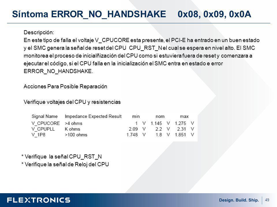 Síntoma ERROR_NO_HANDSHAKE 0x08, 0x09, 0x0A