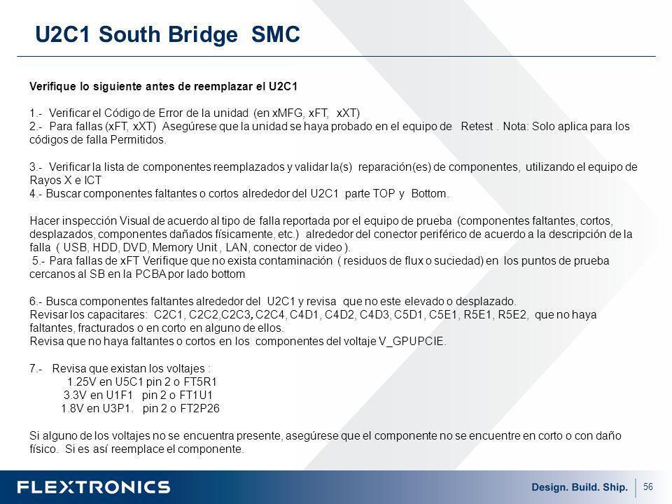 U2C1 South Bridge SMC Verifique lo siguiente antes de reemplazar el U2C1. 1.- Verificar el Código de Error de la unidad (en xMFG, xFT, xXT)