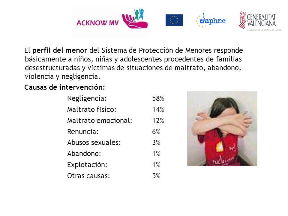 El perfil del menor del Sistema de Protección de Menores responde básicamente a niños, niñas y adolescentes procedentes de familias desestructuradas y víctimas de situaciones de maltrato, abandono, violencia y negligencia.
