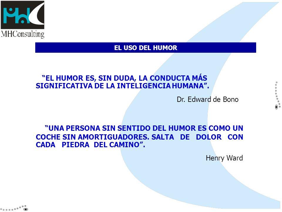 EL USO DEL HUMOR EL HUMOR ES, SIN DUDA, LA CONDUCTA MÁS SIGNIFICATIVA DE LA INTELIGENCIA HUMANA . Dr. Edward de Bono.
