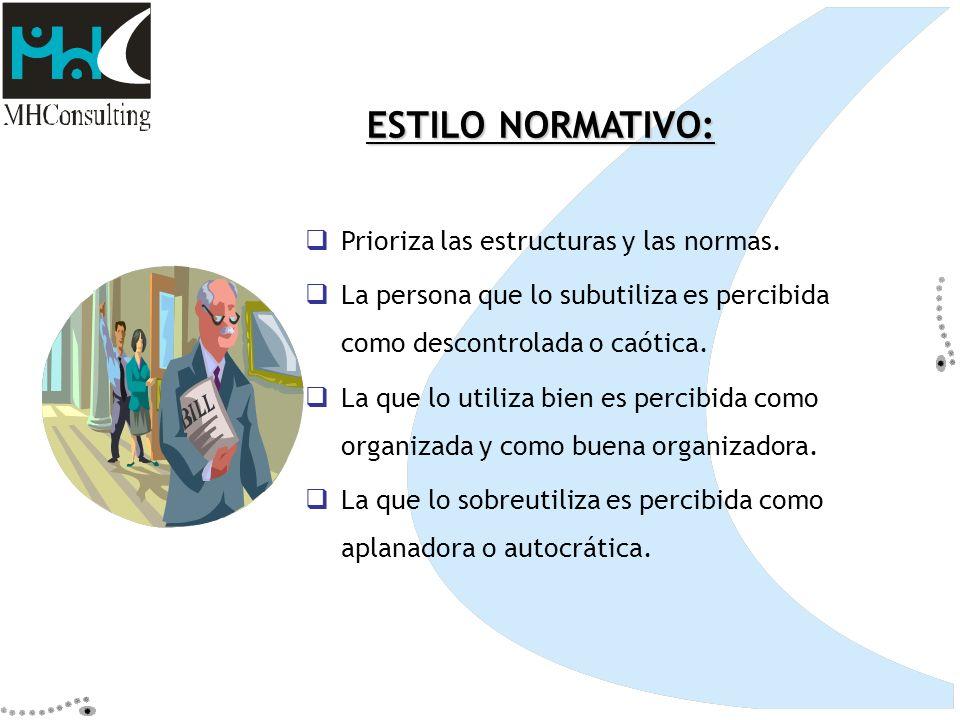 ESTILO NORMATIVO: Prioriza las estructuras y las normas.