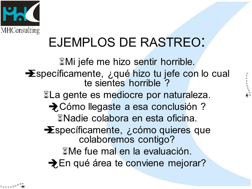 EJEMPLOS DE RASTREO: Mi jefe me hizo sentir horrible.