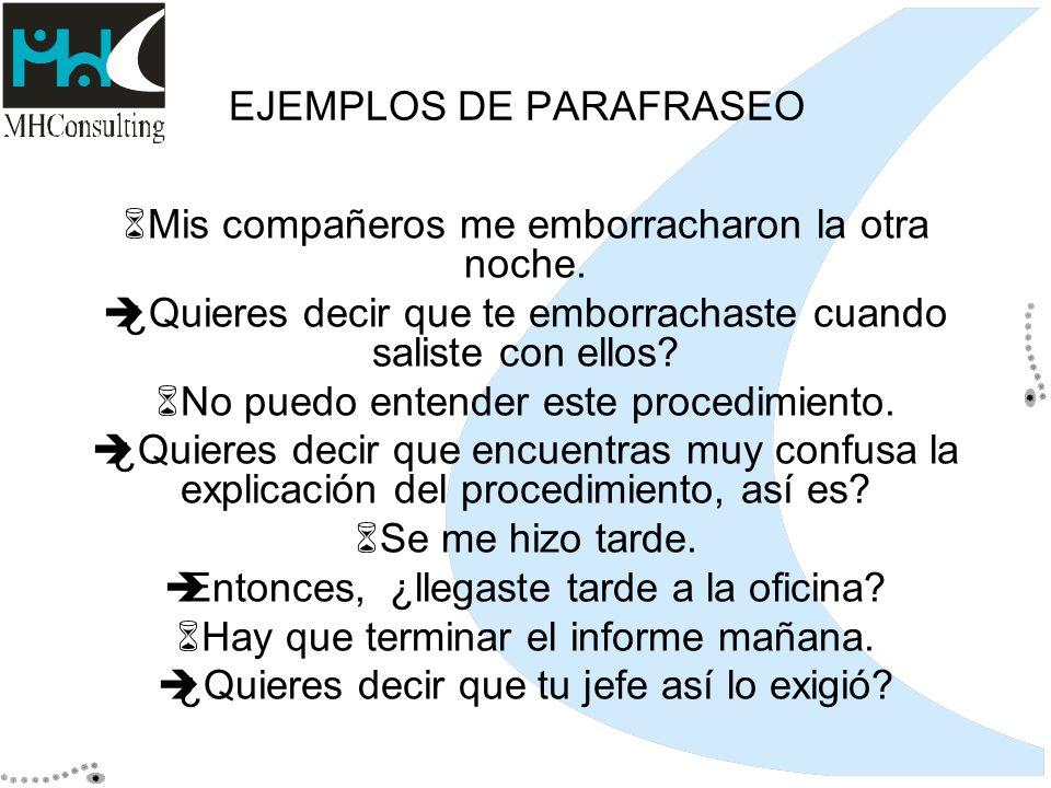 EJEMPLOS DE PARAFRASEO