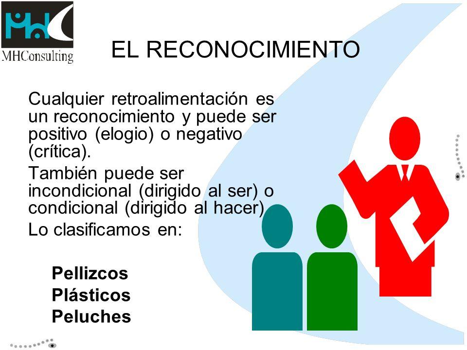 EL RECONOCIMIENTO Cualquier retroalimentación es un reconocimiento y puede ser positivo (elogio) o negativo (crítica).