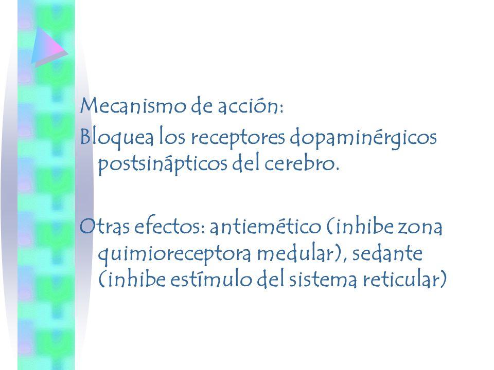 Mecanismo de acción: Bloquea los receptores dopaminérgicos postsinápticos del cerebro.