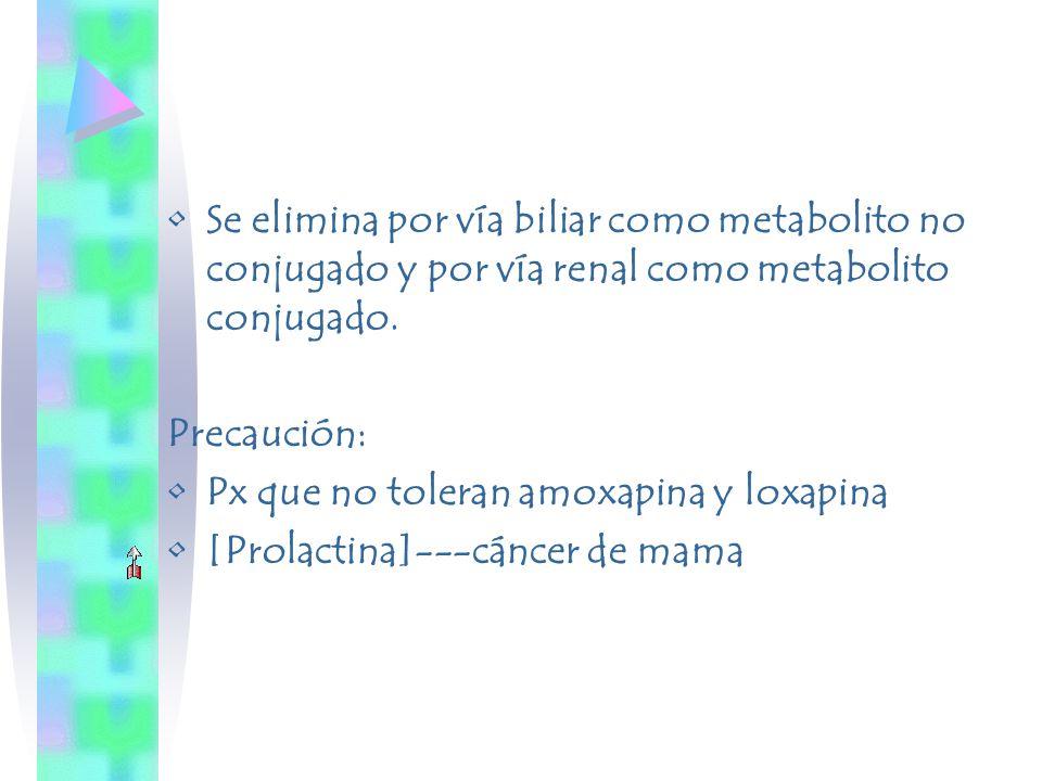 Se elimina por vía biliar como metabolito no conjugado y por vía renal como metabolito conjugado.