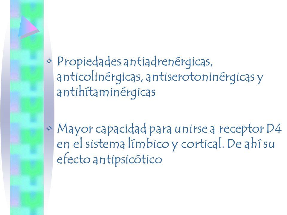 Propiedades antiadrenérgicas, anticolinérgicas, antiserotoninérgicas y antihítaminérgicas