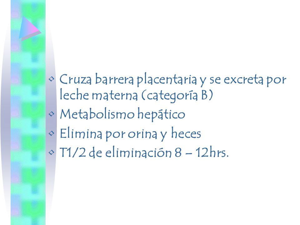 Cruza barrera placentaria y se excreta por leche materna (categoría B)