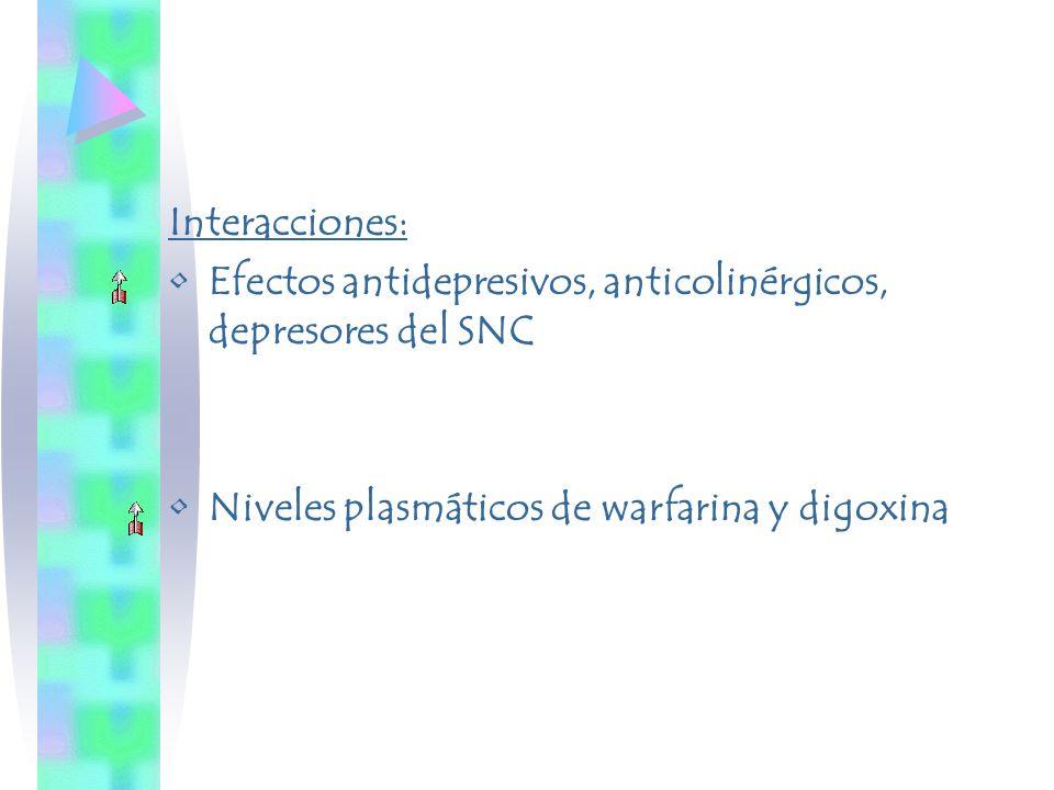 Interacciones: Efectos antidepresivos, anticolinérgicos, depresores del SNC.