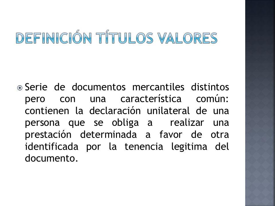 DEFINICIÓN TÍTULOS VALORES
