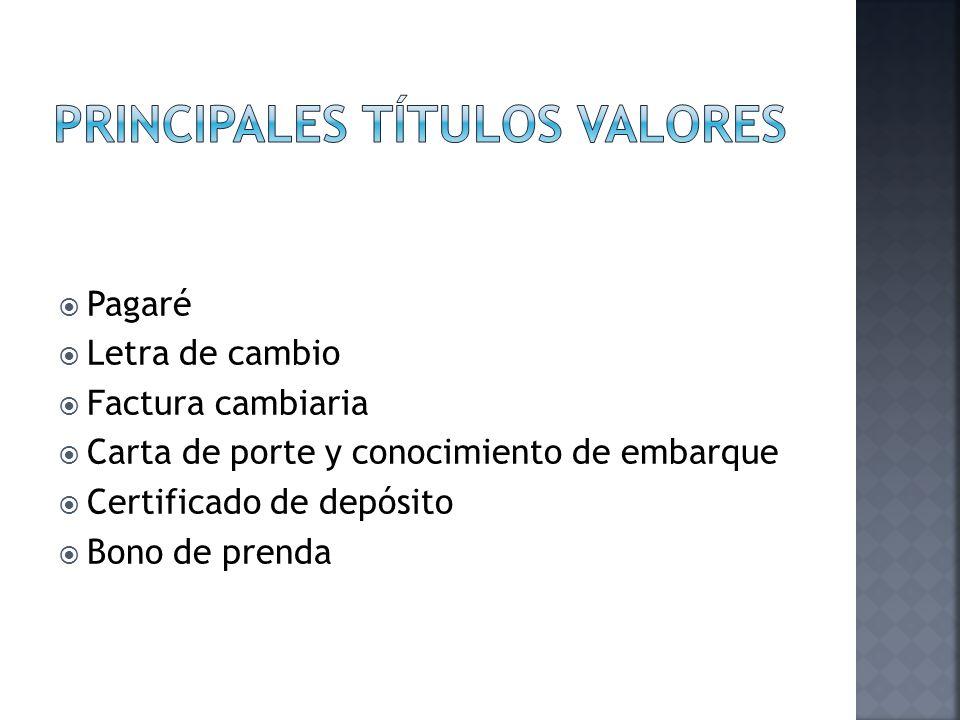 Principales títulos valores