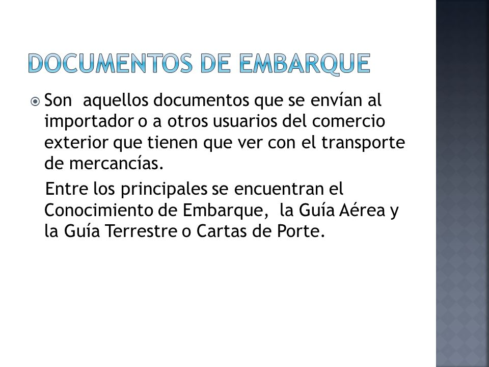 DOCUMENTOS DE EMBARQUE