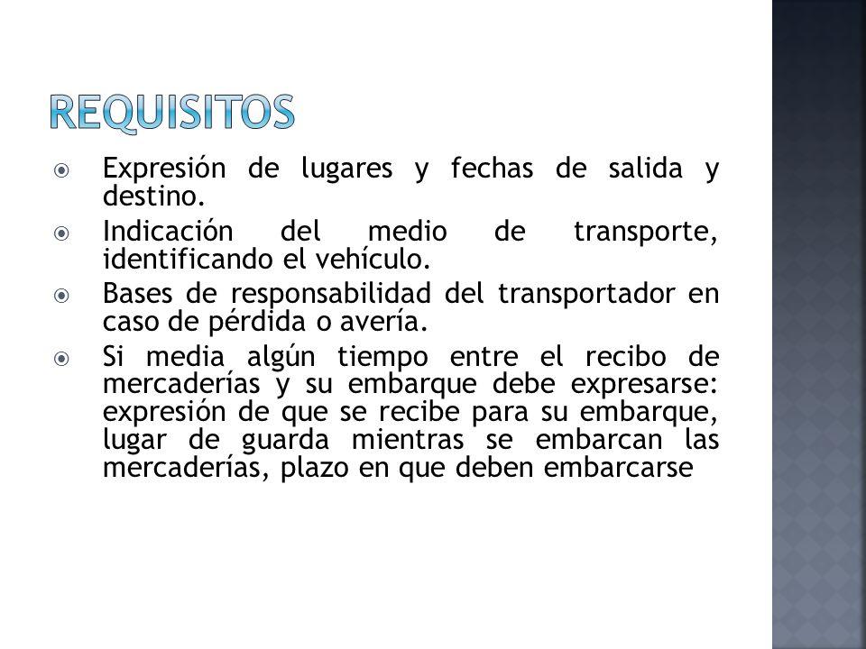 requisitos Expresión de lugares y fechas de salida y destino.