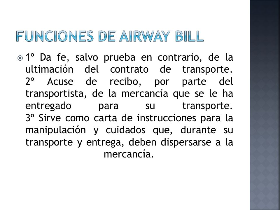Funciones de airway bill