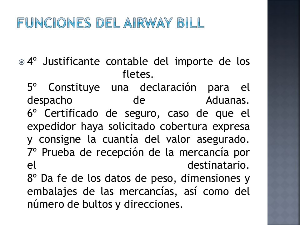 Funciones del airway bill