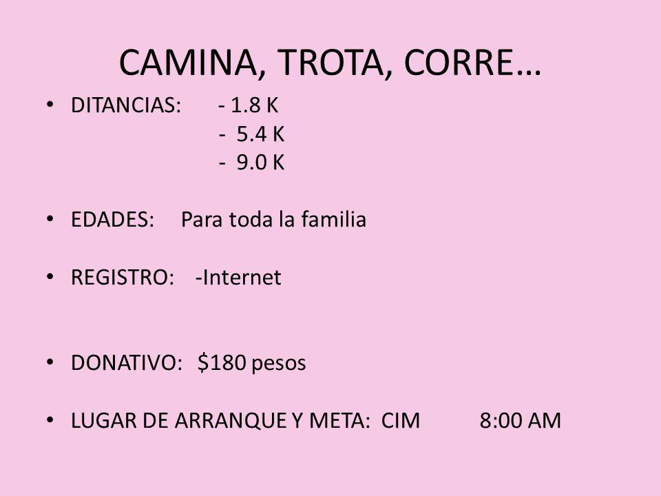 CAMINA, TROTA, CORRE… DITANCIAS: - 1.8 K - 5.4 K - 9.0 K