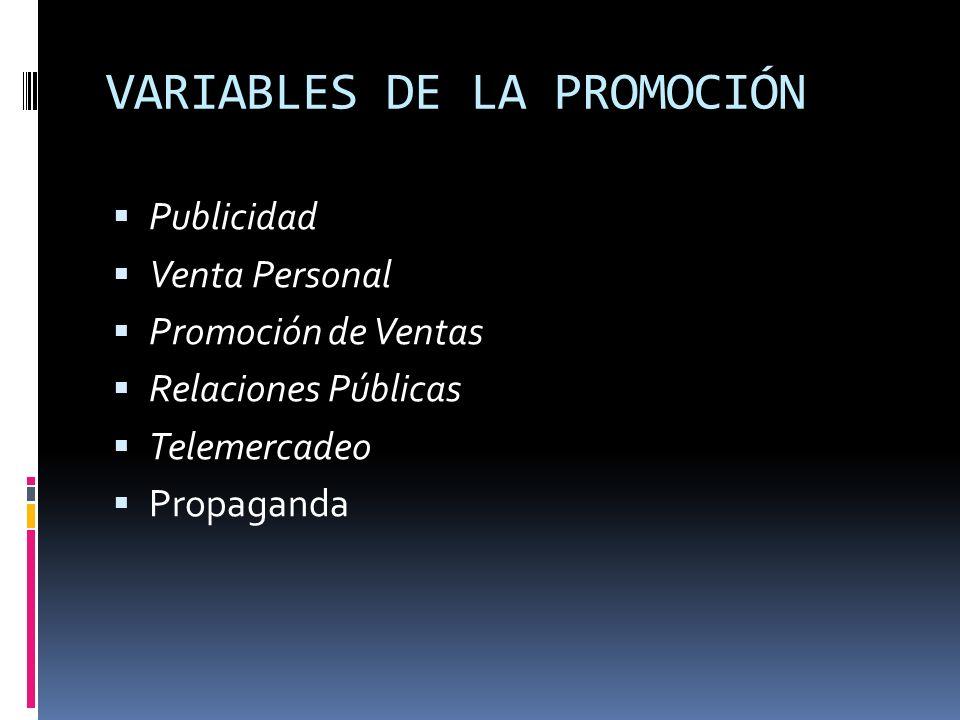 VARIABLES DE LA PROMOCIÓN
