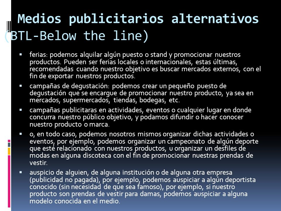 Medios publicitarios alternativos (BTL-Below the line)