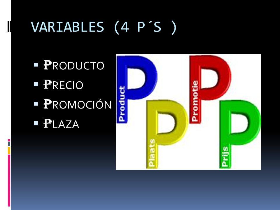 VARIABLES (4 P´S ) PRODUCTO PRECIO PROMOCIÓN PLAZA