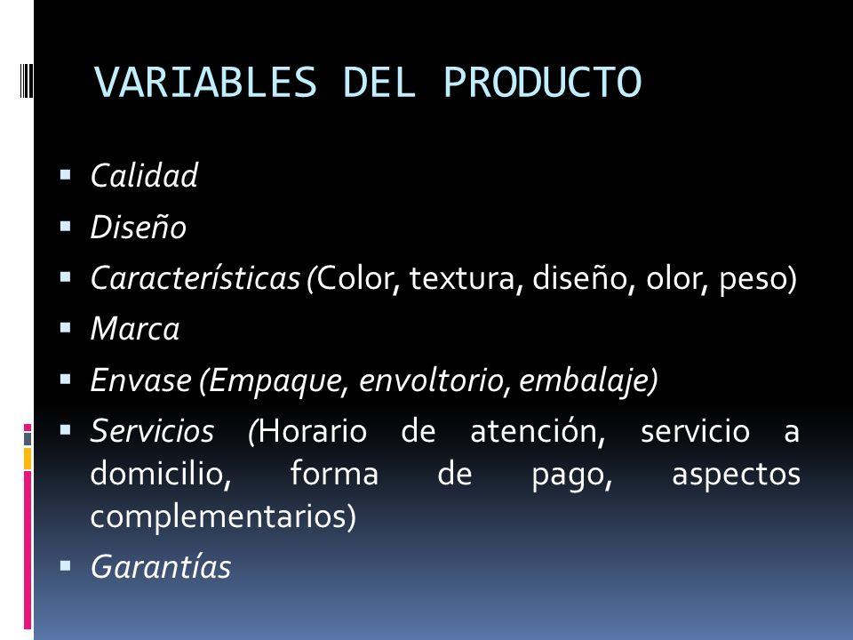 VARIABLES DEL PRODUCTO