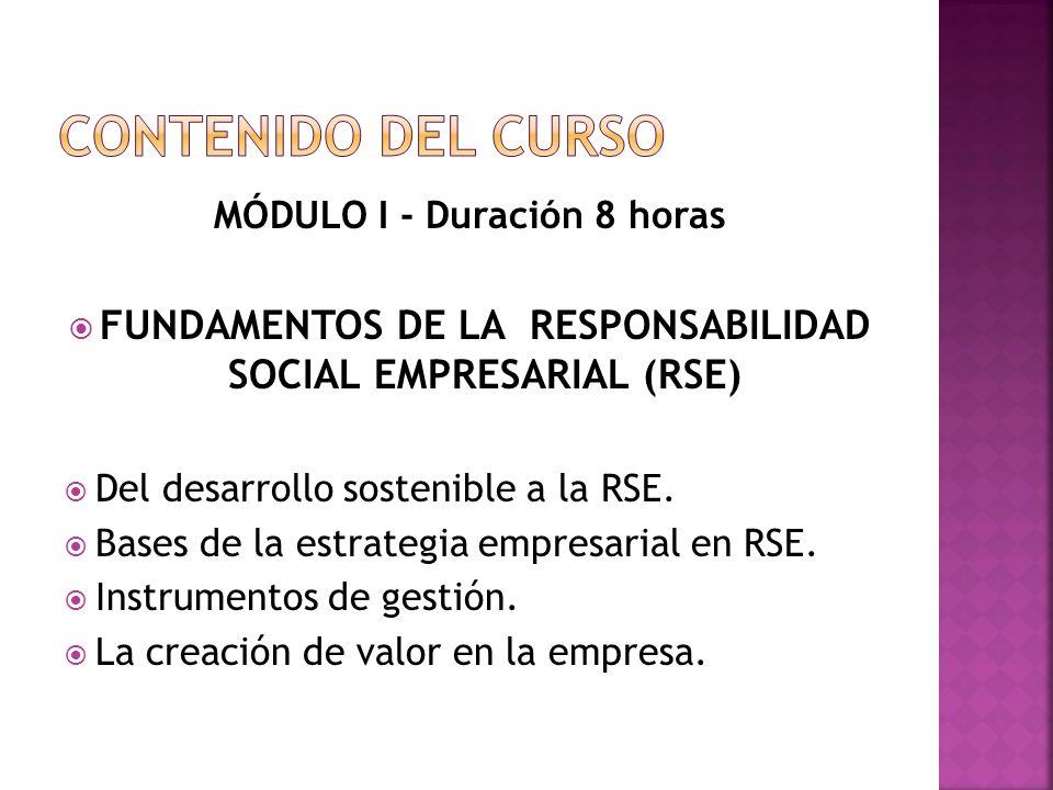 CONTENIDO DEL CURSO MÓDULO I - Duración 8 horas. FUNDAMENTOS DE LA RESPONSABILIDAD SOCIAL EMPRESARIAL (RSE)