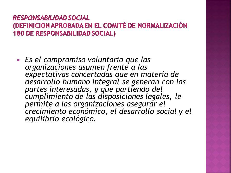 RESPONSABILIDAD SOCIAL (DEFINICION APROBADA EN EL COMITÉ DE NORMALIZACIÓN 180 DE RESPONSABILIDAD SOCIAL)
