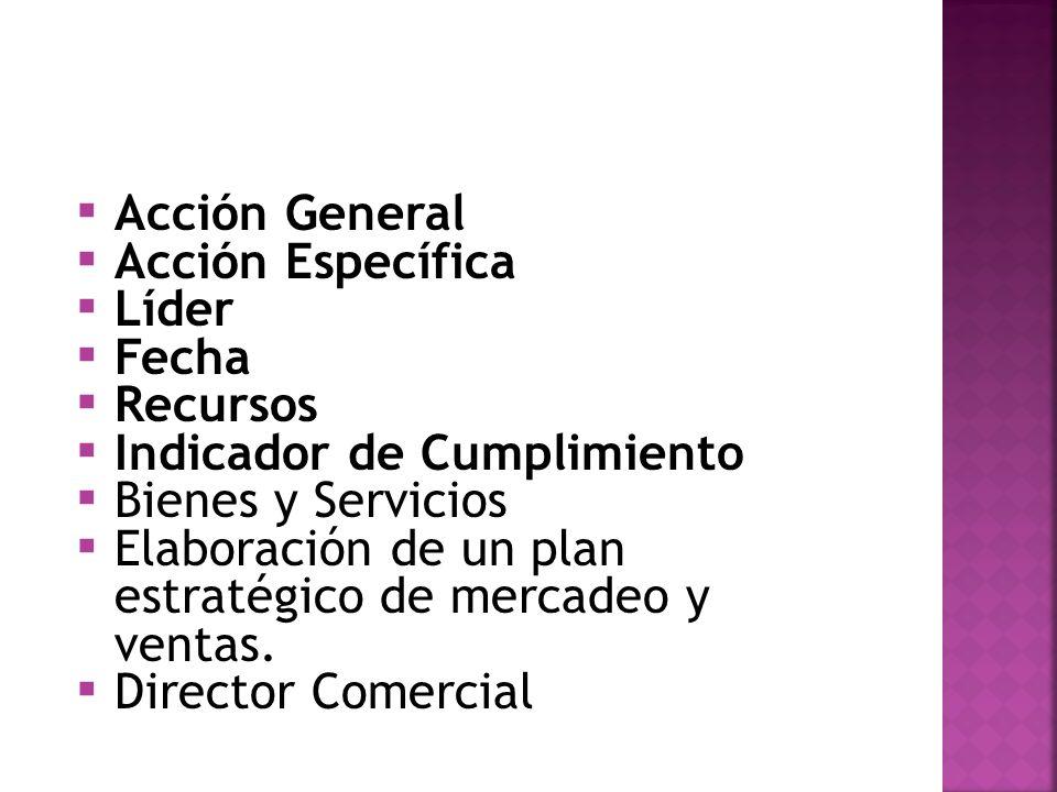 Acción GeneralAcción Específica. Líder. Fecha. Recursos. Indicador de Cumplimiento. Bienes y Servicios.