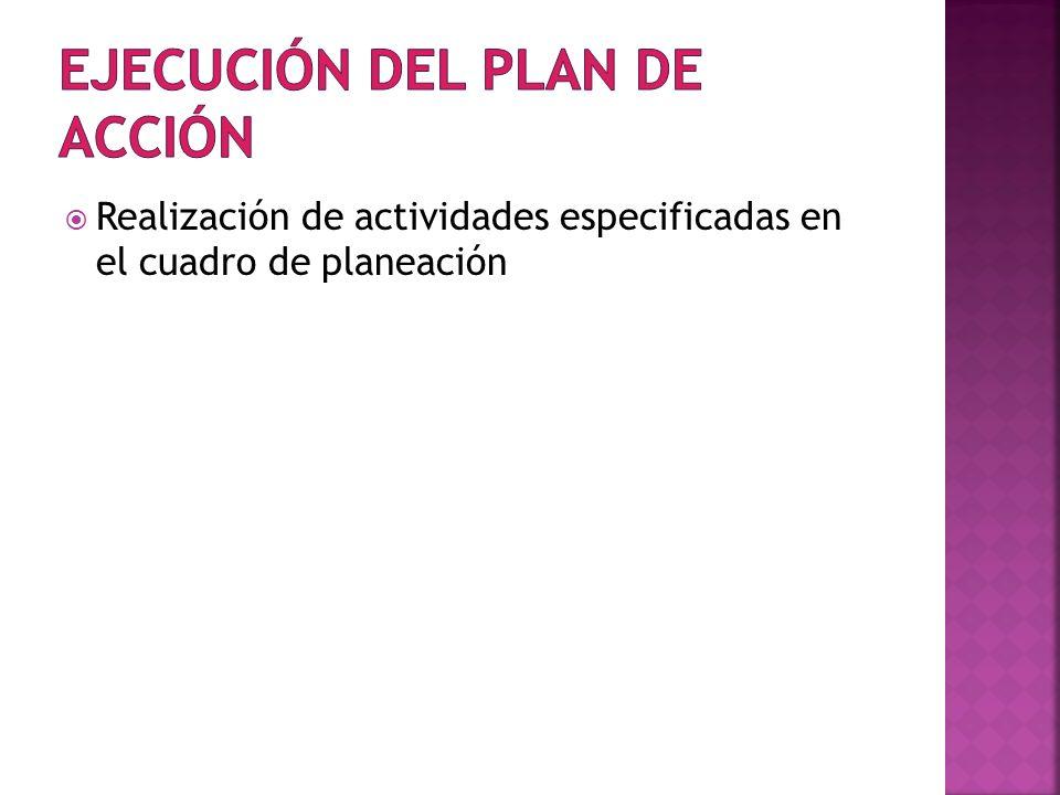 Ejecución del Plan de Acción