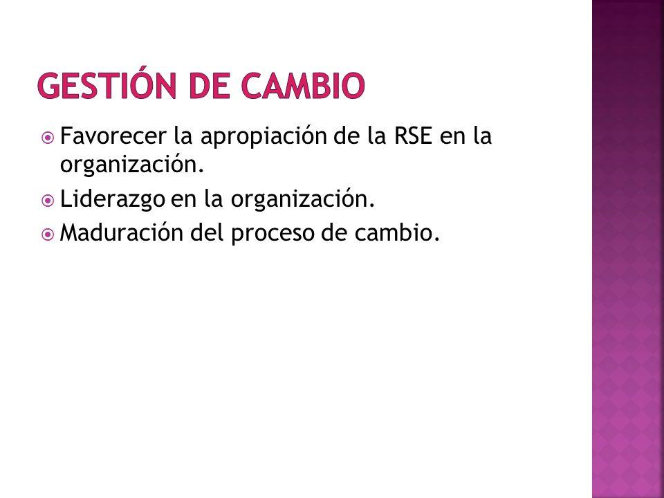 Gestión de Cambio Favorecer la apropiación de la RSE en la organización. Liderazgo en la organización.