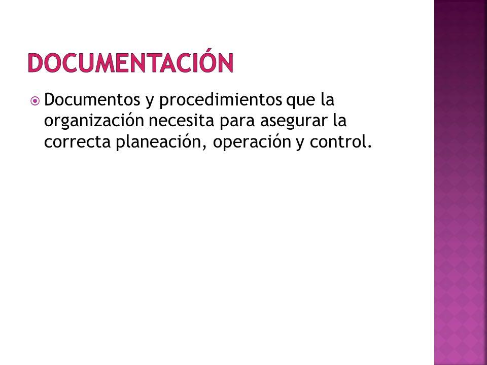 DocumentaciónDocumentos y procedimientos que la organización necesita para asegurar la correcta planeación, operación y control.