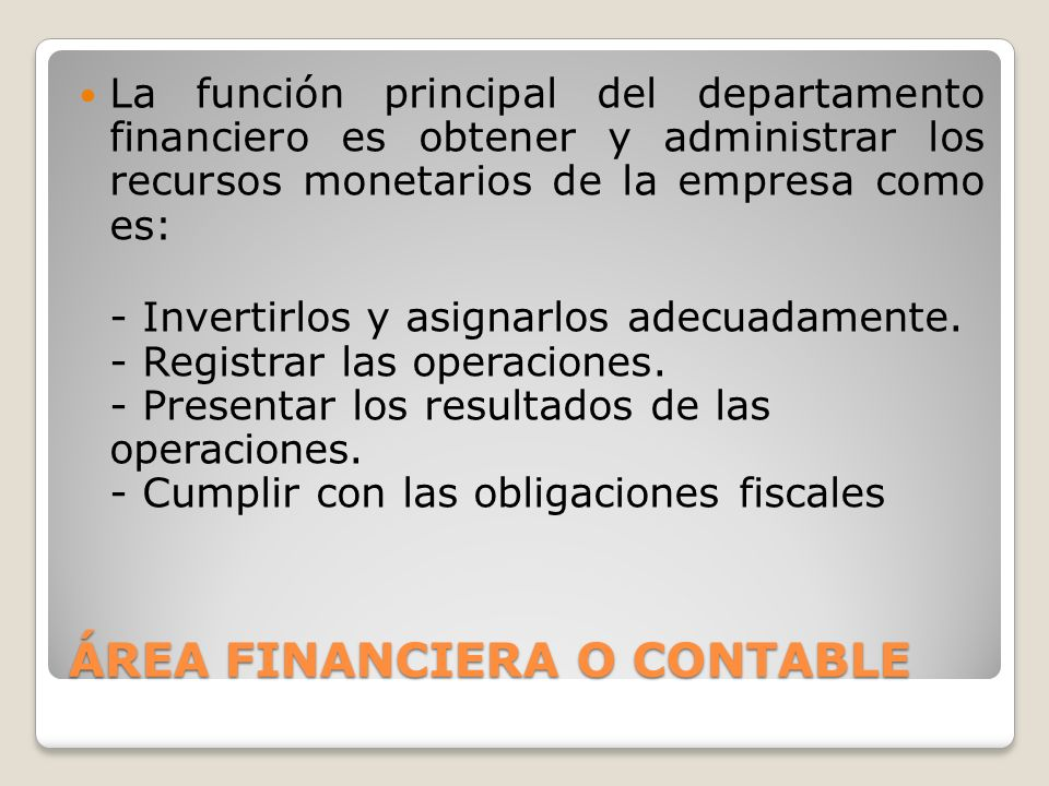 ÁREA FINANCIERA O CONTABLE