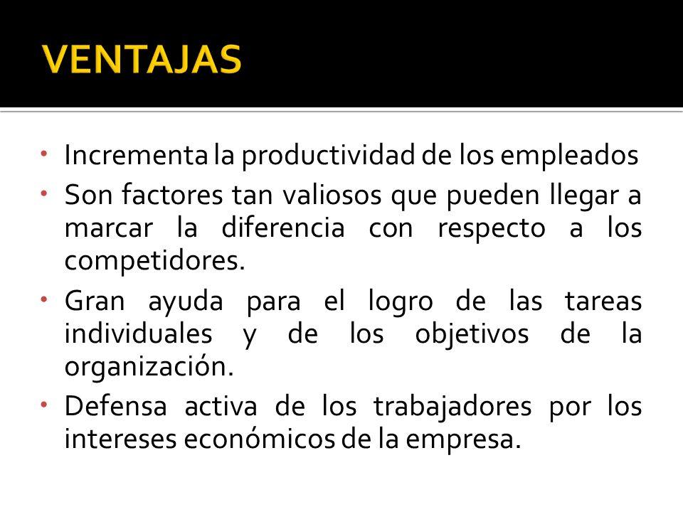 VENTAJAS Incrementa la productividad de los empleados