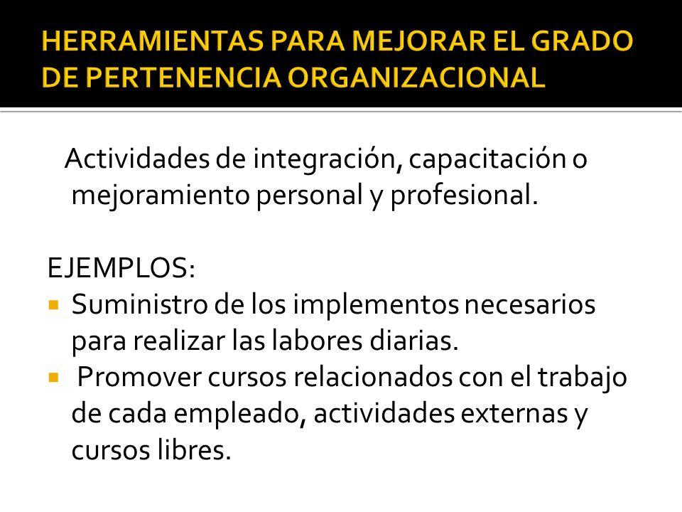 HERRAMIENTAS PARA MEJORAR EL GRADO DE PERTENENCIA ORGANIZACIONAL
