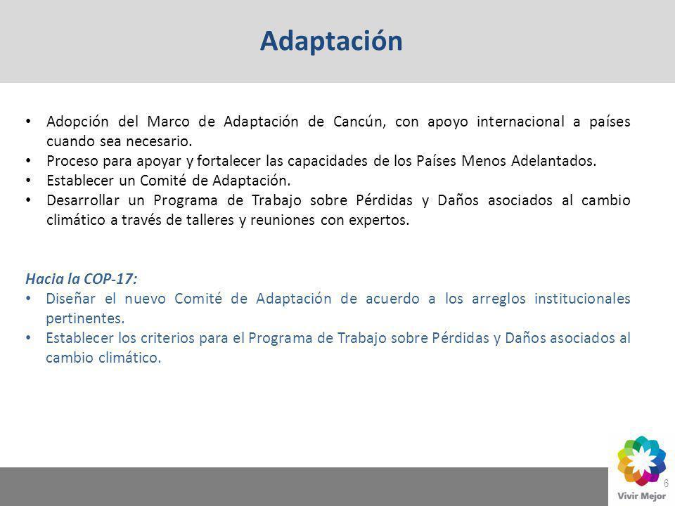 Adaptación Adopción del Marco de Adaptación de Cancún, con apoyo internacional a países cuando sea necesario.