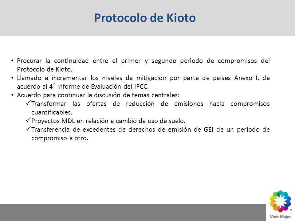 Protocolo de Kioto Procurar la continuidad entre el primer y segundo periodo de compromisos del Protocolo de Kioto.