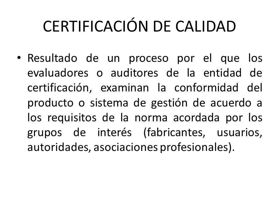 CERTIFICACIÓN DE CALIDAD