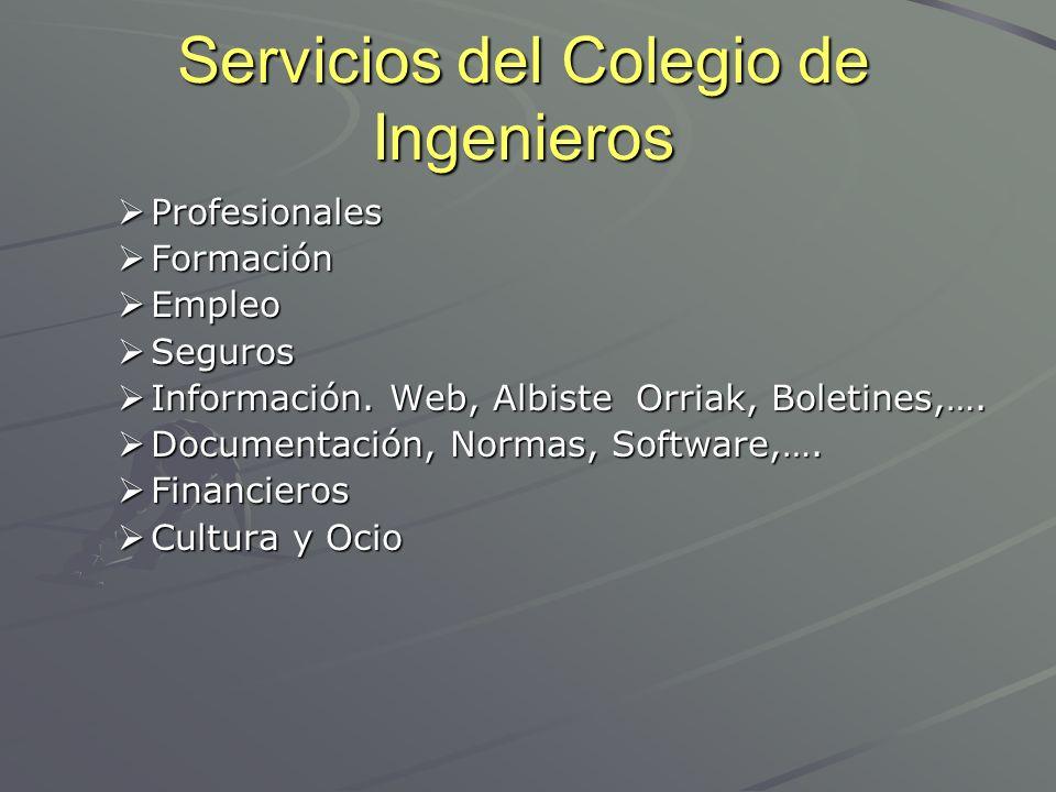 Servicios del Colegio de Ingenieros