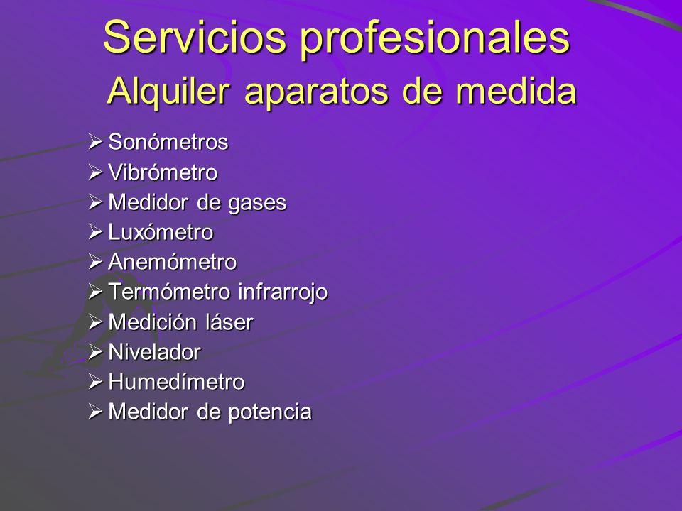 Servicios profesionales Alquiler aparatos de medida