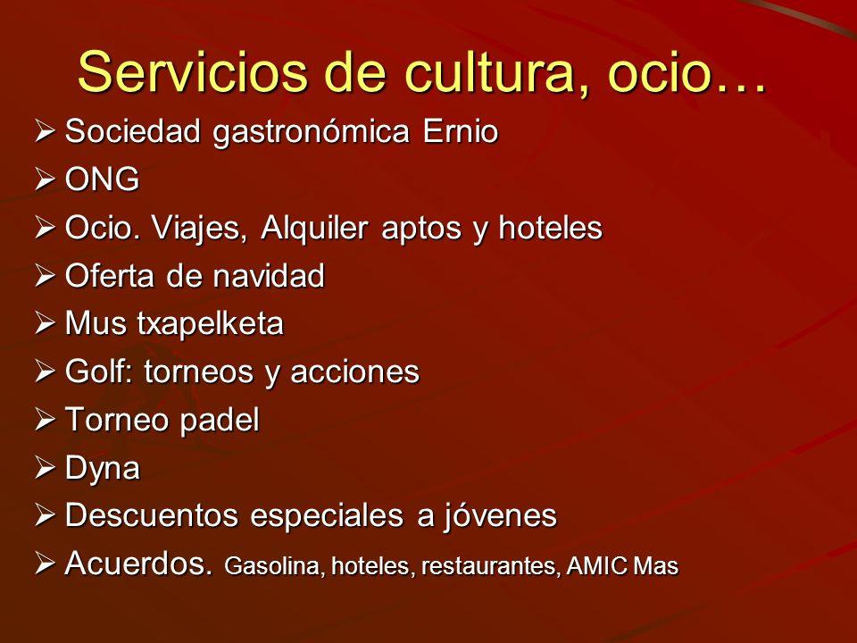 Servicios de cultura, ocio…