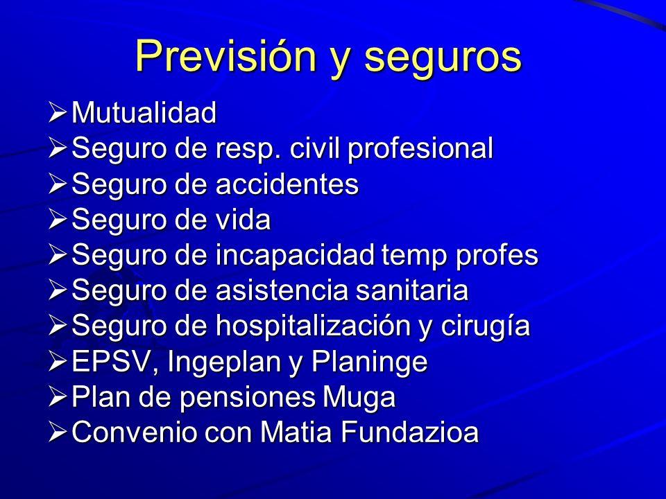 Previsión y seguros Mutualidad Seguro de resp. civil profesional
