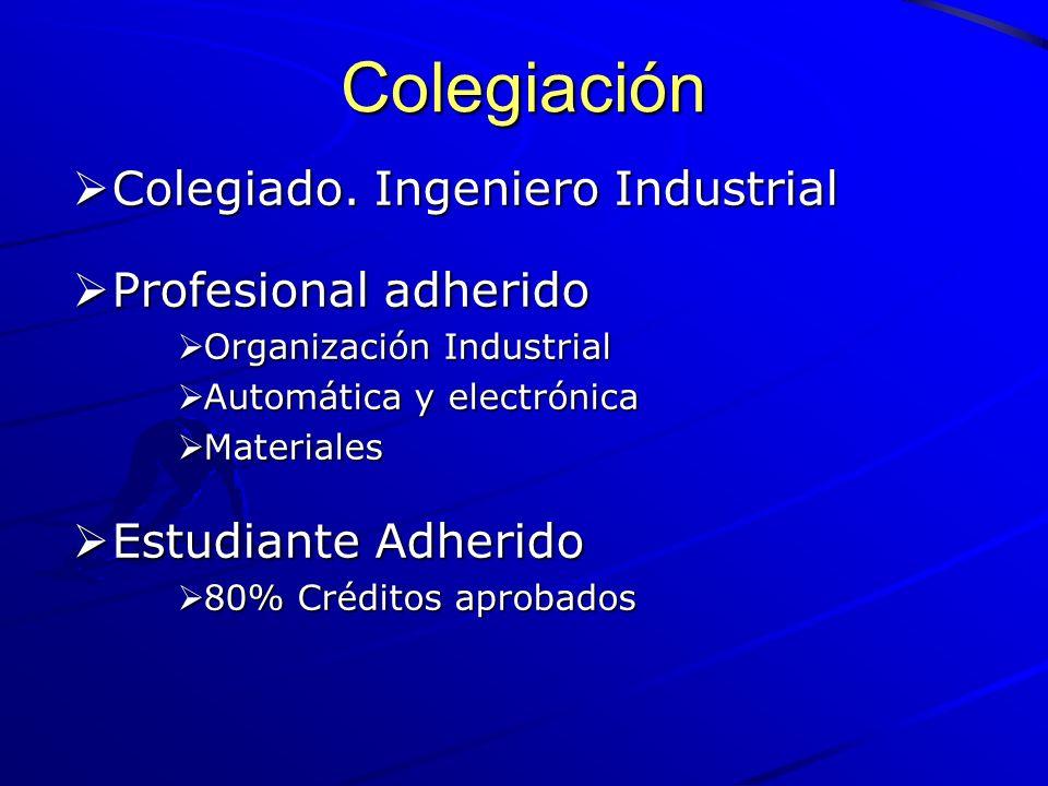 Colegiación Colegiado. Ingeniero Industrial Profesional adherido