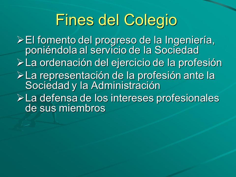 Fines del Colegio El fomento del progreso de la Ingeniería, poniéndola al servicio de la Sociedad. La ordenación del ejercicio de la profesión.