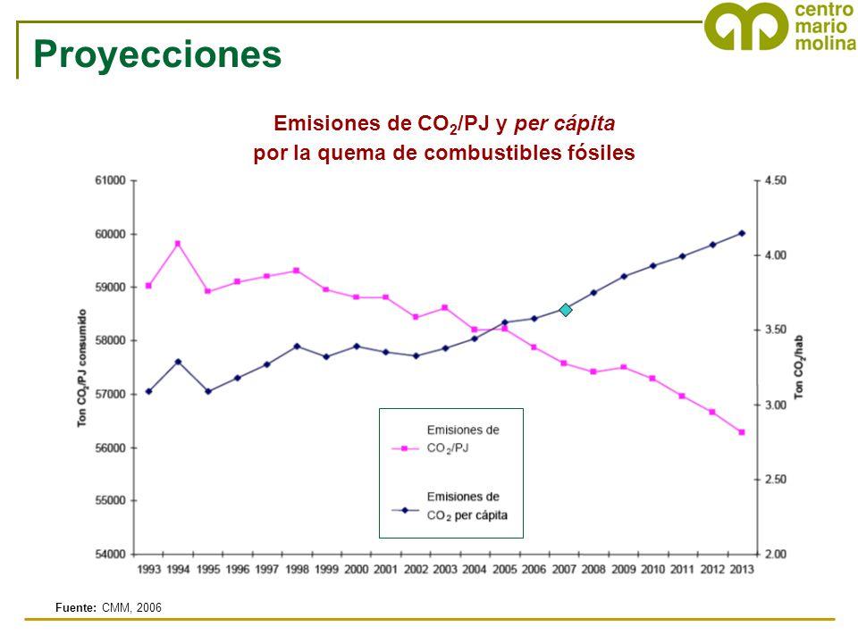 Emisiones de CO2/PJ y per cápita por la quema de combustibles fósiles