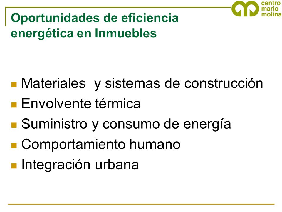 Oportunidades de eficiencia energética en Inmuebles