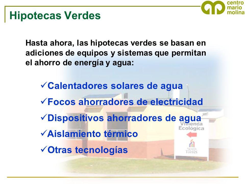 Hipotecas Verdes Calentadores solares de agua