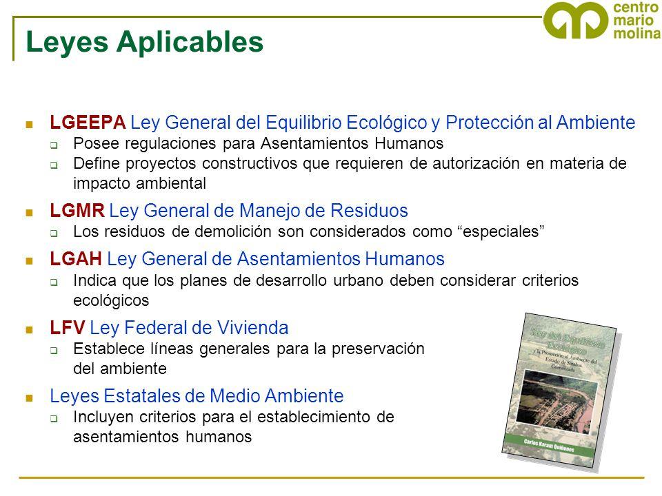 Leyes Aplicables LGEEPA Ley General del Equilibrio Ecológico y Protección al Ambiente. Posee regulaciones para Asentamientos Humanos.