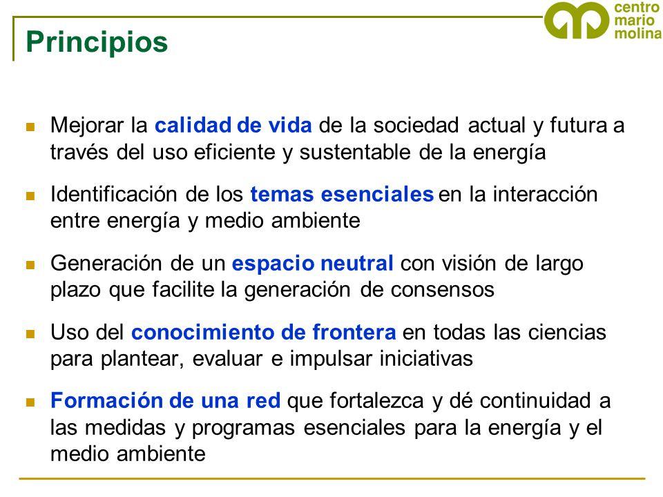 Principios Mejorar la calidad de vida de la sociedad actual y futura a través del uso eficiente y sustentable de la energía.